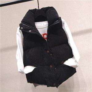 Senza maniche Womens Outerwear donna cappotti Button con cerniera e tasche 20fw Womens cotone Vest stand Collare