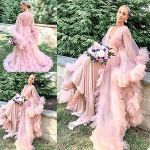 2020 Pink Women's Robe Kimono Pregnant Party Night Sleepwear V Neck Long Sleeves Women Bathrobe Sheer Nightgown Prom Bridesmaid Shawel