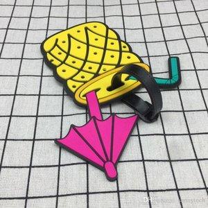 Tag Tags Симпатичные Стиль Багажные Фрукты Питание Yt0100 Пляж Интернат Чемодан Адрес Пвх Cartoon этикетки для багажа Имя Метки держатель bdebaby fCYwC