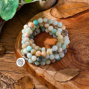 Fashion Women`s bracelet Natural Matte Frosted Amazonite beads with Lotus OM Buddha Charm Yoga 108 mala Bracelet & necklace