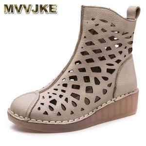 MVVJKE Sommer-Frauen Ankle Boots Handgemachte echtes Leder aushöhlen Sandalen Damenschuhe Wedges weiche Unterseite Frauen Stiefel