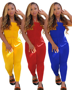 Women fall winter casual clothing sexy plus size jumpsuit solid color backless bandage rompers S-4XL plain sleeveless capris DHL 3792