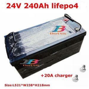 Waterproof 24V 240AH lifepo4 Battery 100A BMS 12.8V for Solar energy RV EV boat backup power UPS golf cart + 20A Charger