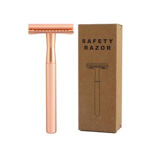 Rose Gold Safety Razor Men's Double Edge Razor Classic Manual Shaving Razor For Women Hair Removal 20 Shaving Blades