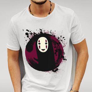 2020 fashion 100% cotton slim fit top new mens white t-shirt spirited away no face print casual short sleeves tshirt