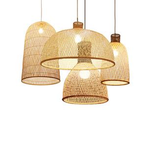 Bambu japonesa Arte Pingente luzes LED Madeira Wicker Lâmpadas Pingente Sala de jantar suspensão home interior lâmpada Cozinha Partidas Luminaire