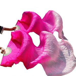 Belly Dance fans 100% soie Veils Nouveautés scène Performance de couleur Femmes danse du ventre Fan Veils (2pcs)