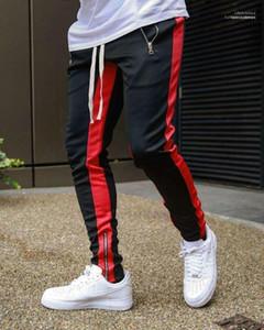 Длинные кулиской карандаш брюки моды мужские брюки для бега трусцой Дизайнер Piping High Street Hiphop Спортивные штаны Casual
