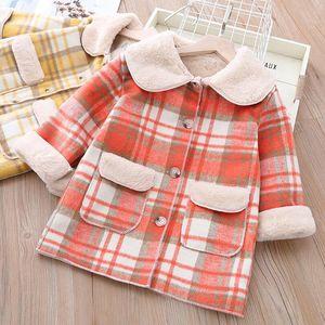2020 New Baby Girl Plaid Inverno Velvet Brasão Dentro Quente Meninas Meninos casacos longos Crianças elegantes Casacos Sobretudos Roupa