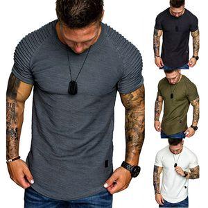 Mens Designer Luxus-T-Shirt Sommer-Kurzarmshirt mit rundem Ausschnitt Falten Tees Fashion Casual Male Kleidung Mehrere Arten