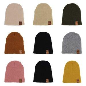11 Цвет дети шлема сплошного цвета детская тканого крючок Hat Baby Girl Boy Мода зима теплая шапка Аксессуары DC912 # 666