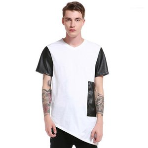Tees Casual V Neck Short Sleeve Tees Mens Clothing Mens Designer Patchwork T-Shirts Fashion Natural Color