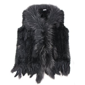 high quality Hot Sale Retail wholesale Raccoon Dog Fur Collar Trim Women Knitted Natural Rabbit Fur Vest Gilet waistcoat 200921