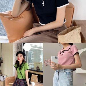 zlzPh top top nouveau style minceur femmes tricot T-shirt loose manteau nombril exposé été tout-match courte à manches courtes étudiant T-sh simples coréen