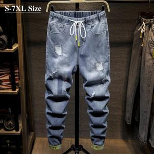 Men's Jeans Plus Size 5XL 6XL 7XL Elastic Waist Harem 2021 Autumn Streetwear Hole Denim Pants Male Brand Trousers