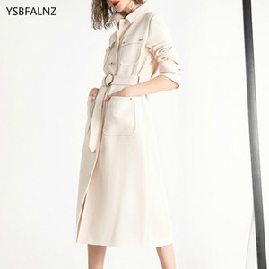 Womens Windbreakers Autumn Winter Creamy-white Uk Fashion Long Trench Coat Female Chic Clothes Roupas Femininas Com Frete Gratis