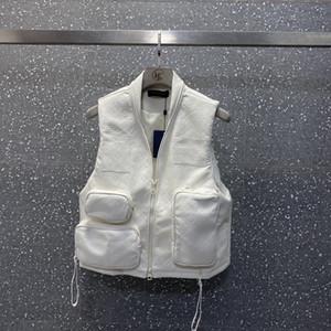 дизайнер 20SS Мода высокого качества Свободные мужчины женщины Многократные карманы PU Жилет Куртка ветровка Пара толстовка мужская случайных свитер белый