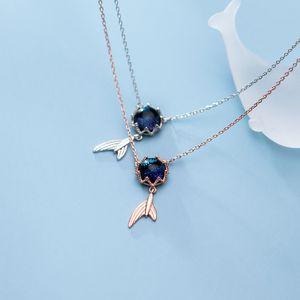 Modian Fashion Marine Life Cute Mermaid Tail Sterling Silver 925 Pendant Necklace for Women Luxury Wedding Original Fine Jewelry