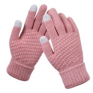 Пять пальцев перчатки 2021 модные женщины осенью и зимняя имитация кашемировой вязать твердый цвет сенсорный экран полный палец шерстяной теплый вязаный