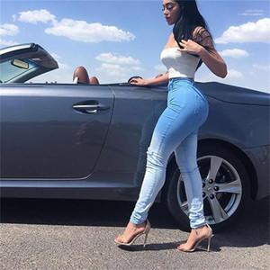 Hosen-Frauen Gefärbte Jeans Blau Weiß Patchwork Löcher dünne Jeans Slim Fit Bleistift