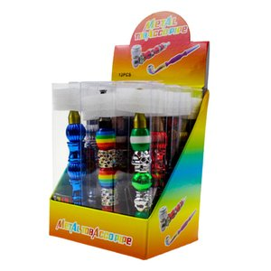 Metal Pipe Set Kit Tobacco Pocket Colorful Beads Pipe Detachable Smoking Herb Pipe with Screens Mesh Filter