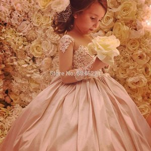 Champagne Flower Girl Dresses Glitz Ruched Lace Embellished Princes Long Sleeves First Communion Pageant Gowns Vestidos Longo