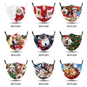 Nova Personalidade chegada Dog Cat animal Teste padrão do Natal Impresso Homens Mulheres Mask Atacado Dust-proof Anti-fumaça de pano de algodão Adulto