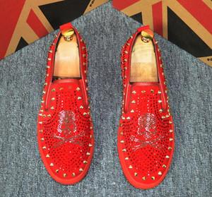 2019 mens shoes Men Casual barber Casual shoes human skeleton rivet stylist mens designer shoes men luxury loafers 38-44 cs02
