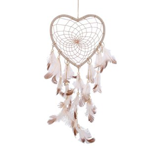 Dream Catcher Wind Chimes Feathers Beads Handmade Circular Heart Net Dreamcatcher Car Home Room Hanging DIYI Decoration Ornament