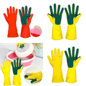 Kitchen Cleaning Gloves Home Washing Spone Cleaning Gloves Sponge Fingers Rubber Household Wash Dish Bowl Spoon Gloves 2pcs lot WX9-1190