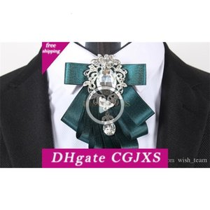 New Men &039 ;S Dress Shirts Brooches Pins High Qlity Men Suits Double Ribbon Collar Pin Wedding Handmade Rhinestones Pins Brooches