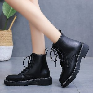 2020 Autumn New Fashion Boots Side Zipper Low Heel Round Head Cross Strap Waterproof Platform British Style Short Boots