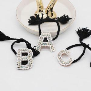 carta de pulsera de perlas temperamento moda partículas de perlas cosidas a mano letra pulsera 548