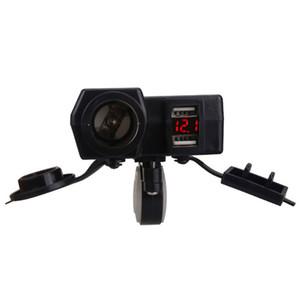 100pcs Waterproof Motorcycle Dual Usb Voltage Meter Cgarette 12V 24V LED Voltmeter Lighter Socket