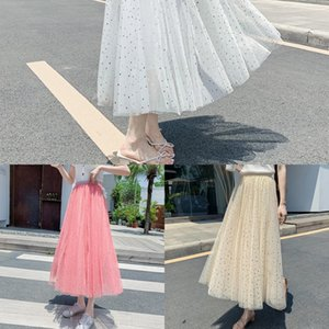 T87aM OAR6d Pleated for women fairy new sequined 2020 chic mesh A A- LINE skirts Pleated skirts skirt - line skirt mid-length