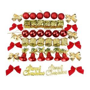 Dekorasyon kolye Kiti Dahil Christams Toplar, Bowknots, Hediyeler Süsler Asma Yılbaşı Ağacı Süsler, Merry Christmas Le