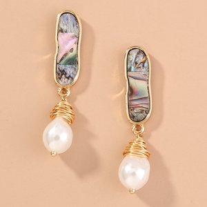 2020 hot sale natural abalone shell hand-twined pearl earrings