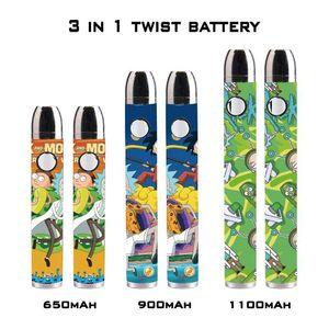 510 thread battery vape battery 650mah 900mah 1100mah preheat rechargeable Twist battery for vape cartridge 3 in 1 NWD1940