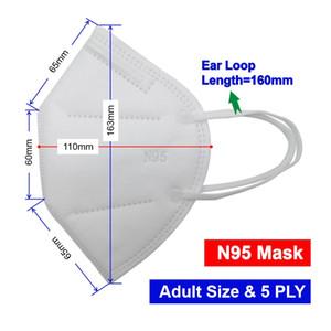 Atacado kn95 Máscara 5 ply Respirador BFE95% eletrostática Meltblown Registro DHL frete grátis