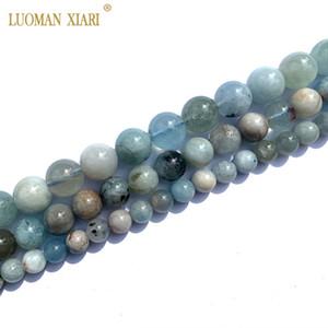 Fine 100% Natural Old Ore Aquamarine Gemstone Round Stone Beads For Jewelry Making DIY Bracelet Necklace 6 8 10mm Strand