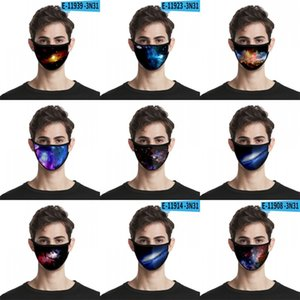 Starry Sky Windproof Dustproof Mask Cotton Yarn Polyester Facemask 3D Digital Printing Breathing Mascarilla cartoon funny 3D 2 2ml B2