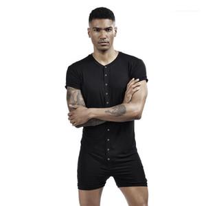 Casual Maniche corte attivo delle tute abiti da uomo Mens Designer Breve pagliaccetti Fashion V-Neck Solid tute di colore