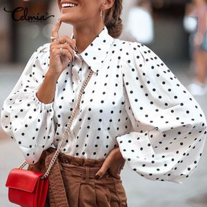 Polka Dot Stylish Tops Celmia Women Lantern Sleeve Blouses Casual Loose Lapel Neck Elegant Shirts Long Sleeve Blusas Femininas
