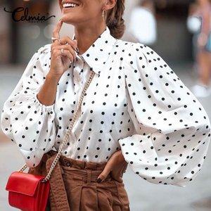 Polka Dot Stylish Tops Celmia Women Lantern Sleeve Blouses Casual Loose Lapel Neck Elegant Shirts Long Sleeve Blusas Femininas