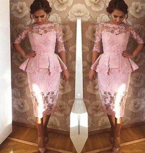 Розовый Кружева мама невесты Dresse с Overskirt рукавом Половина длины чая Короткие вечерние Wear Пром Свадеб платья на заказ размере