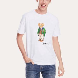 Мужская вышитая футболка дизайна, которая соответствует размеру высококачественного 100% чистого хлопка зеленый медведь футболка с коротким рукавом футболка с американцем б