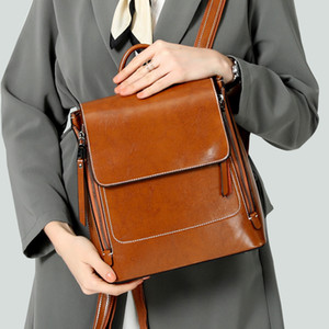 High Quality 2020 New Womens Leather Bags European and American Style Fashion Trend Oil Wax Vintage Leather Womens Backpack