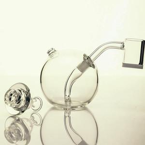 tubo di acqua Vetro sferico Bong il tubo di fumo narghilè Bubblers vetro Tubo con fumante bongs 14 millimetri ciotola congiunta argento Piattaforme petrolifere