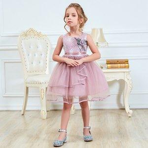 2-6 yaşında Little Princess Kolsuz Elbiseler çocuk Kız Tül Tutu Elbise Çiçek Kız Düğün Kostüm Çocuk Balo Abiye
