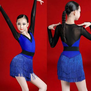 Tassel Latin Dance Dress For Girls V-neck Long Sleeves Latin Competition Costume Rumba Stage Dress Tango Ballroom ChaCha BL3955